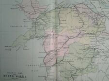 1887 MAP ~ COUNTIES of WALES ~ RAILWAY MAP of NORTH WALES