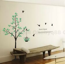 Large Tree love secret bird cage Wall decals Removable stickers decor home art