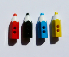 NEW PACK OF 12 ASSORTED PENCIL BUTTONS RED BLACK BLUE YELLOW PENCILS