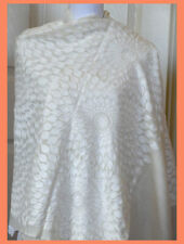 White Embroidered 100% Wool White Color Shawl Wrap from India