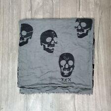 Becksondergaard Extral Large Scarf Shawl Silk Wool Blend Skulls 77