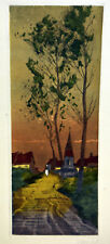 1930s Etching Signed NANCY Old Country Road Church Tower Dawn Red Roof Houses