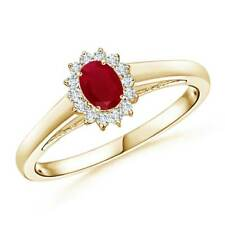 Princess Diana Inspired Ruby Ring with Diamond Halo Yellow Gold Size 8