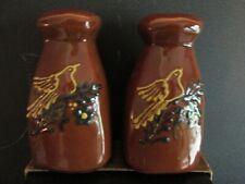 ELDRETH Pottery Brown Salt Pepper Shakers Bird Flower Design 1996 RARE