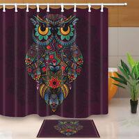 Color Owl Decor Waterproof Shower Curtain Bathroom Rugs &12 Hooks 72*72inch