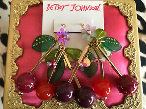 Betsey Johnson HUGE Summer Picnic Ladybug Lucite Ball Cherry Cherries Earrings