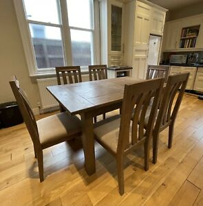 Solid Wood Dining Table Set 6 Chairs