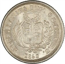 Peru 1858 1/2 Real LIGHTLY TONED UNC, ONE YEAR TYPE