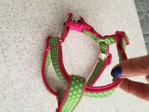Simply Dog Step-In Harness Pet Pink & Green Polka Dot Size Small Choke Free