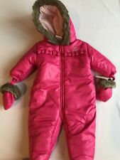 ABSORBA Pink Snowsuit 6 9 Months NEW NWT Fur Trim Hood Mittens Booties bunting