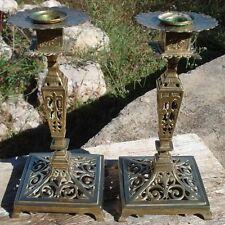 Paire de Chandeliers Candleholders Bougeoirs Bronze Ajouré XIX ème siècle