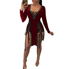 Women Sexy Bandage Lace Up Bodycon Evening Party Cocktail Clubwear Mini Dress