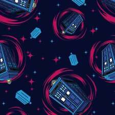 Fat Quarter Doctor Who Tardis Phone Booth 100% Cotton Quilting Fabric