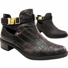 NEW WOMENS LADIES LOW BLOCK HEEL CUT OUT CLIP BUCKLE STRAP ANKLE BOOT SHOE RETRO