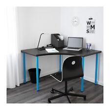 IKEA LINNMON / ADILS Scrivania Tavolo angolare, marrone-nero, blu 120x120 cm