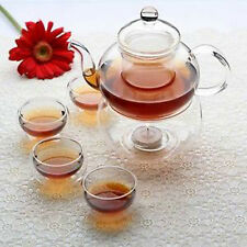 Glass Tea Set Pot with Infuser Filter, Tealight Warmer, 6 Cups Chinese Gongfu