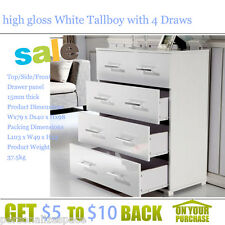 high gloss White Tallboy with 4 Draws  clothes to books or toys MDF Drawer Panel