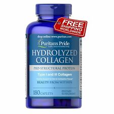 Puritan's Pride Premium Hydrolyzed Collagen 1000 mg x 180 Caplets Free Shipping