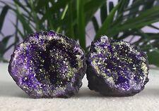 Purple Geode Pair Geode Crystal Quartz Druze Gem Specimen Dyed Morocco Geode