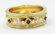 18k Yellow Gold Diamond and Sapphire Ladies Band Ring
