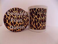 Leopard print mug and round coaster set great idea for a birthday