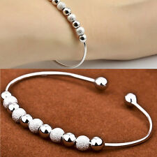 Women Chic Silver Plated Beads Ball Bangle Cuff Vogue Bracelet Jewelry V8D
