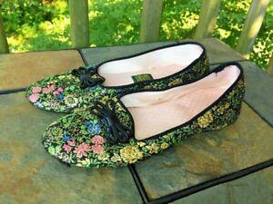 Vintage DANIEL GREEN Floral Geisha Flower Slippers Shoes Womens Size 7 AA 👞b4