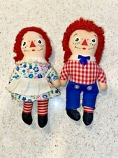 """Vintage Knickerbocker 7"""" Raggedy Ann and Andy pair of dolls"""
