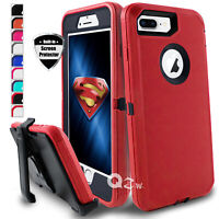 For iPhone 7 8 &7 8 Plus Shockproof Case Cover With Belt Clip + Screen Protector