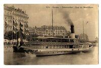 CPA Suisse Lémanique Genève Débarcadère Quai du Mont-Blanc bateau