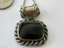 VNTG MEXICAN STERLING SILVER & ONYX PENDANT TUBE BALE LRG OPENING 18'' CHAIN