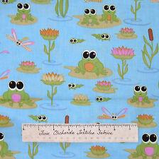 Kitschy Kawaii Fabric - Nursery Frog Lily Pad on Aqua Blue - RJR Dan Morris YARD