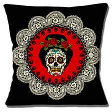 Frida Kahlo Mexican Sugar Skull Cushion Cover 16x16 inch 40cm Day of the Dead