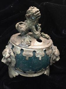 WOW Tibetan Hand Made Jade Incense Burner W/Lion Cover 00014