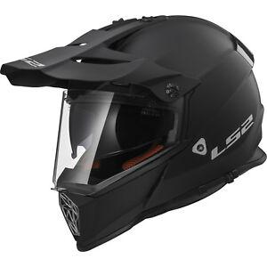 LS2 MX436 Pionero Casco de Moto Negro Mate Dual Sport Todoterreno Motocross
