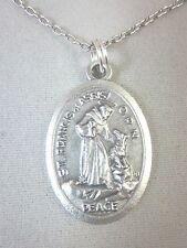 """Oversized St Francis with Wolf / Peace Prayer Medal Pendant Necklace 20"""" Chain"""