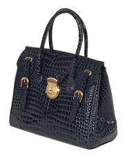 RAPHAEL Crocodile Alligator  NAVY color RICKY Handbag Bag  Exotic Leather ITALY