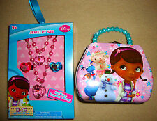 DISNEY JUNIOR- DOC MCSTUFFINS TIN PURSE & JEWELRY SET Necklace, Bracelet & Rings