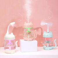 3 In 1 Humidifier Cute Cat LED Humidifier Air Fan Diffuser Purifier Atomizer UK