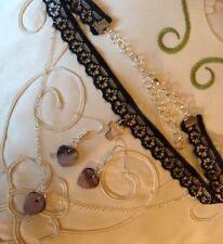 Choker Lace / Blace+Pearl Hearts&cross/ster Sil Chain+Earings.