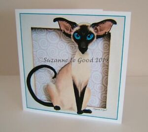 Siamese Cat art painting greetings birthday card from painting Suzanne Le Good