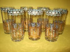 New listing Vtg Set~ 7 Mcm Culver Saratoga Turquoise Aqua Blue Gold Tumbler Highball Glasses