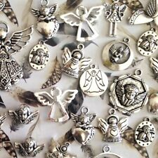Engel Anhänger Set ♥ Schmuckzubehör Schutzengel Basteln Deko Charms Silber