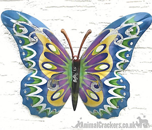 Large 35cm bright Blue multi colour metal Butterfly ornament wall art decoration