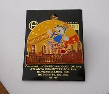 "Vintage 1996 Atlanta Olympic Games Izzy ""WELCOME"" cut-out style pin"
