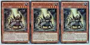 X3 YUGIOH REACTAN, DRAGON RULER OF PEBBLES LTGY-EN095 COMMON CARDS