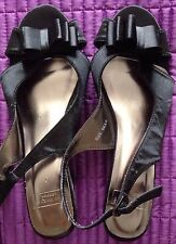 ANN HARVEY GORGEOUS Black Satin Slingback Shoes - Size 6 Worn once REDUCED