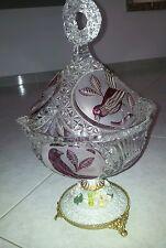 cristallo di boemia e base in capodimonte anni 40 biscotteria/portacioccolatini