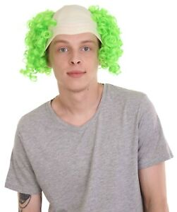 Green Creepy Evil Overhead Circus Killer Clown Cos Bald Head Curly Wig HM-672
