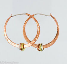 Far Fetched Copper Hammered HOOP EARRINGS Sterling Brass EH130 - Gift Boxed